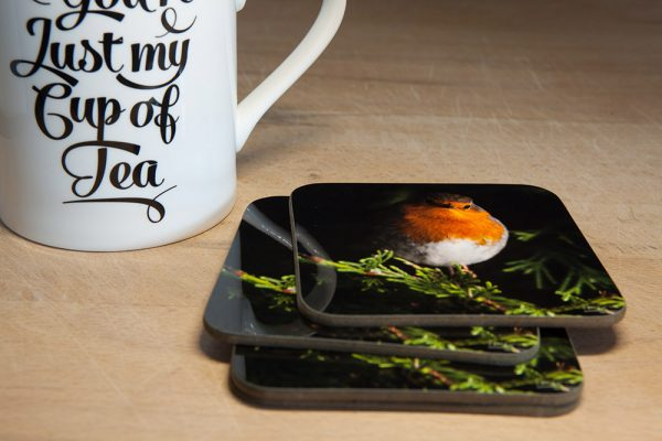 Robin Coaster. This photo features a photo of a beautiful red breasted robin
