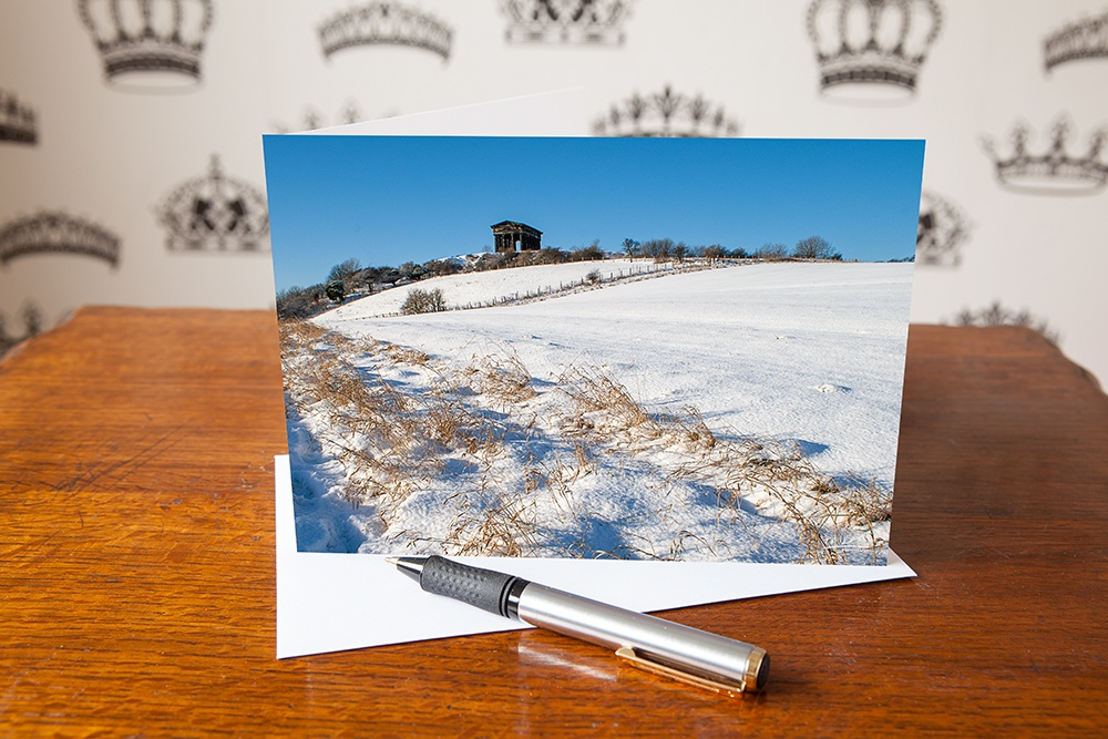 Snowfall at Penshaw, Penshaw Monument, Sunderland Tyne & Wear, Greetings Card
