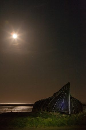 Old Boat Full Moon And Mars