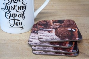 Lean On Me Highland Cow and Calf Coaster